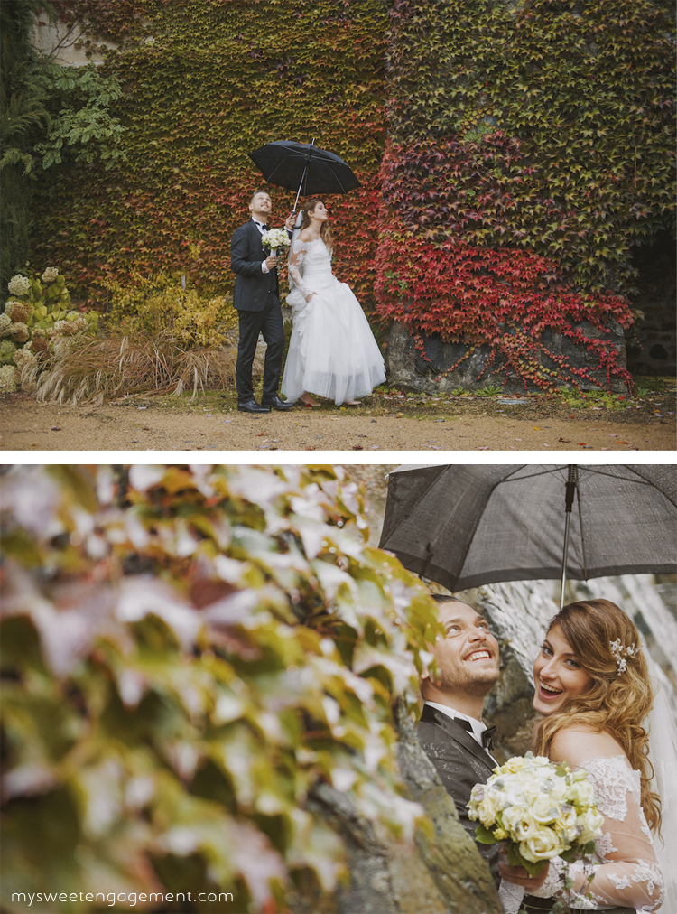 bride and groom portraits - fall wedding - auutumn foliage - rainy wedding - umbrella - bride and groom - wedding lace dress bouquet - wedding blog - my sweet engagement
