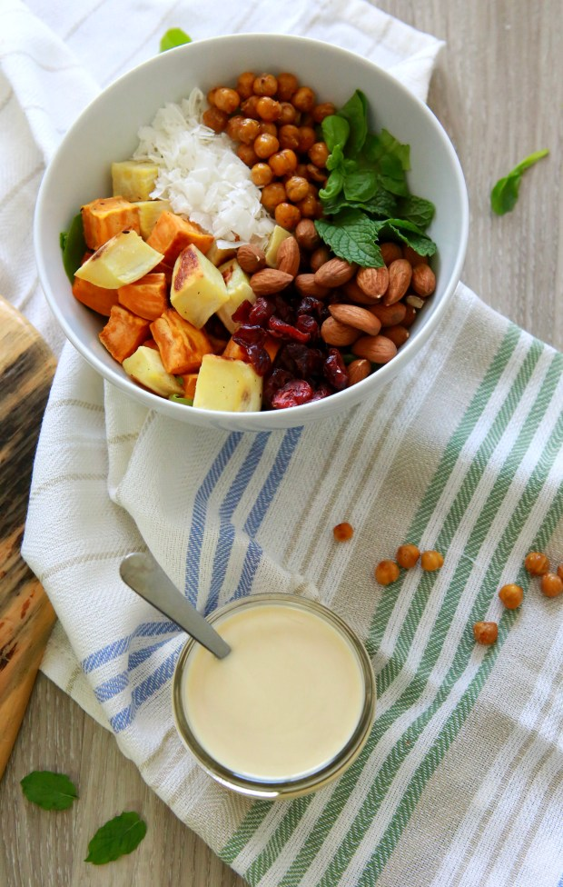 Sweet potato bowl with maple tahini