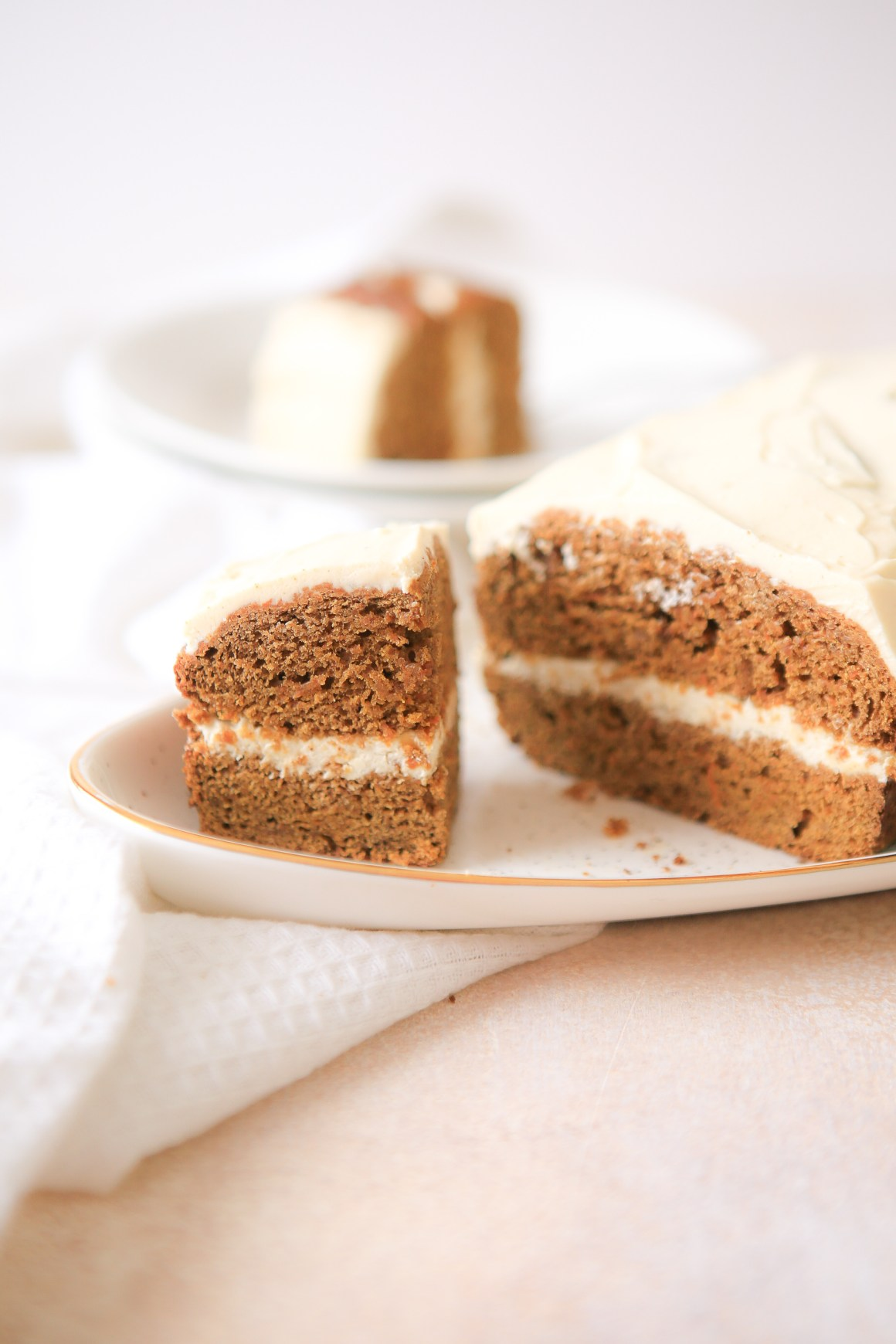 Lovely traditional carrot cake with cream cheese icing, perfect for the whole family