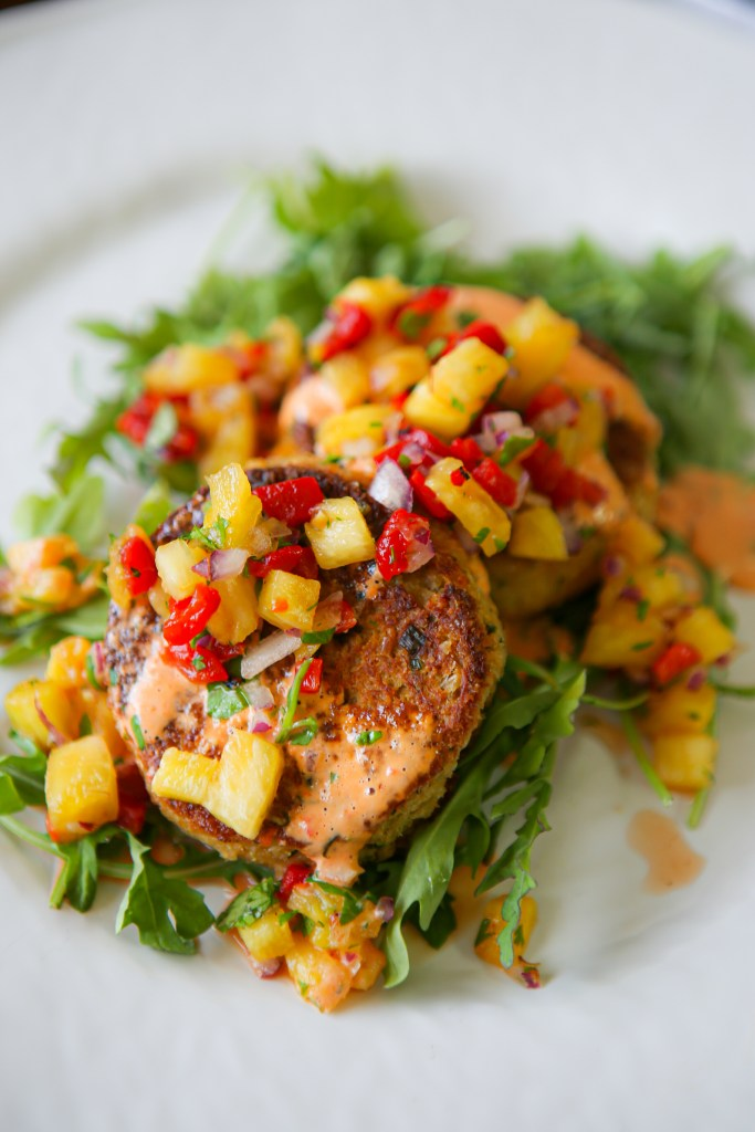 Roasted red pepper and pineapple salsa on homemade crab cakes