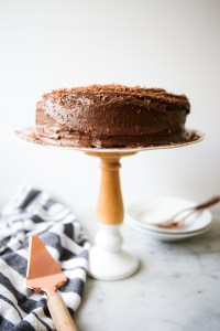 Two-layered chocolate zucchini cake with chocolate buttercream icing | zucchini cake | chocolate cake | healthyish chocolate cake | zucchini season | baking with zucchini