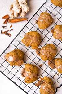 Old fashioned pumpkin cakies | A cookie that's like cake | Pumpkin cookies that can be made gluten-free | low-sugar pumpkin cakies | Pumpkin cakies with a pumpkin spice glaze | Holiday baking | fall baking