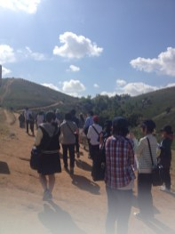 Three groups went out into the park for a hike.