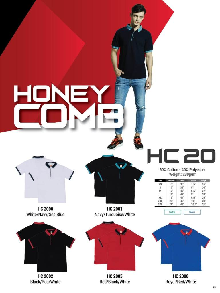 HC20 oren sport polo honeycomb plain