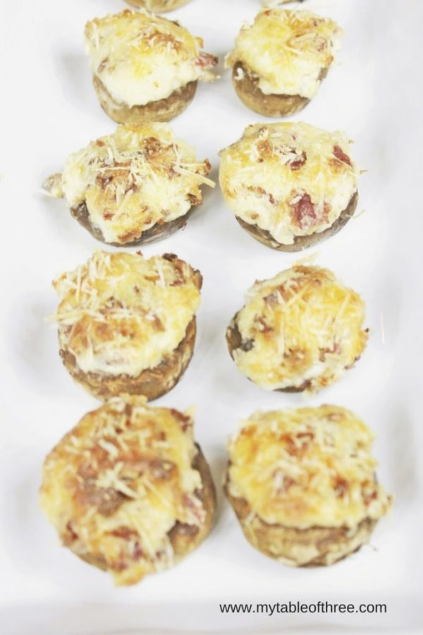 Low Carb Bacon and Parmesan Cheese Stuffed Mushrooms
