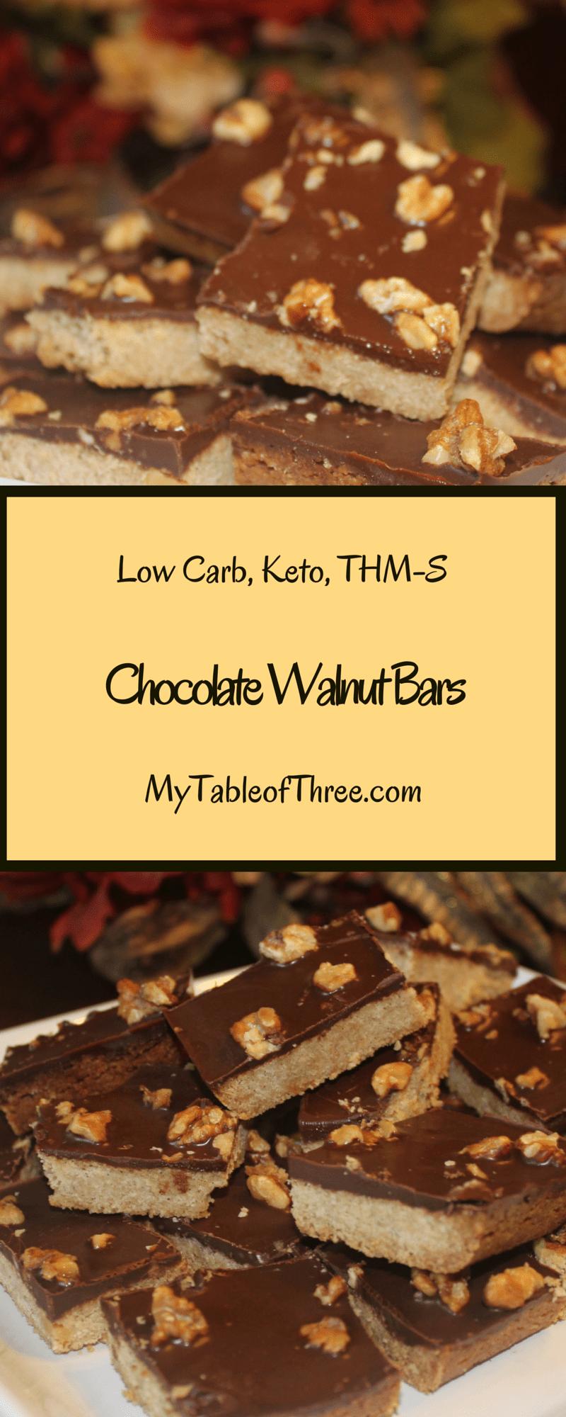 Chocolate Walnut Bars (Low Carb,THM) - My Table of Three