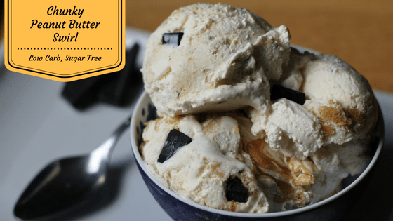 Chocolate Chunks and Peanut Butter Swirls in rich low carb and sugar free vanilla ice cream from My Tabe of Three. This ice cream is great for low carb diets, LCHF, Keto and Trim Healthy Mama eating plans and is diabetic friendly.