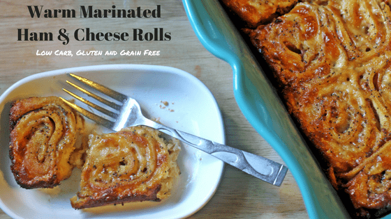 "Warm Marinated Ham & Cheese Rolls from My Table of Three are low carb, gluten and grain free and THM ""S"". They are also great for LCHF and Keto Appetizers."