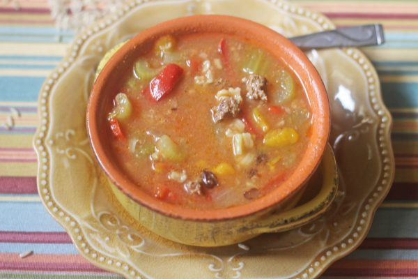 "My Table of Three's Low Fat Easy Stuffed Pepper Soup is a great one put meal that is gluten free and THM ""E""."