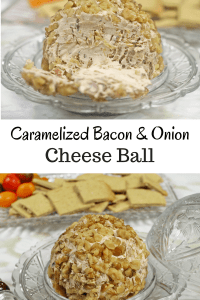 Caramelized Bacon and Onion Cheese Ball is the perfect creamy appetizer and comes in at only 2 net carbs per serving. It is THM and Keto friendly.