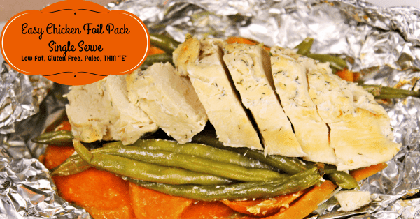 This easy chicken and veggies meal cooks up nicely in a foil packet. THM E, Paleo and Low Fat.