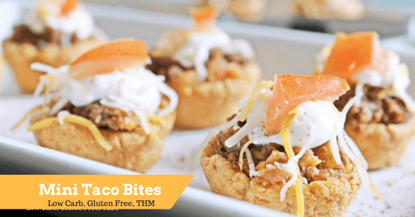 Mini Taco Bites are low carb and gluten free. They are a great appetizer or fun treat on Taco Tuesday. THM Friendly.