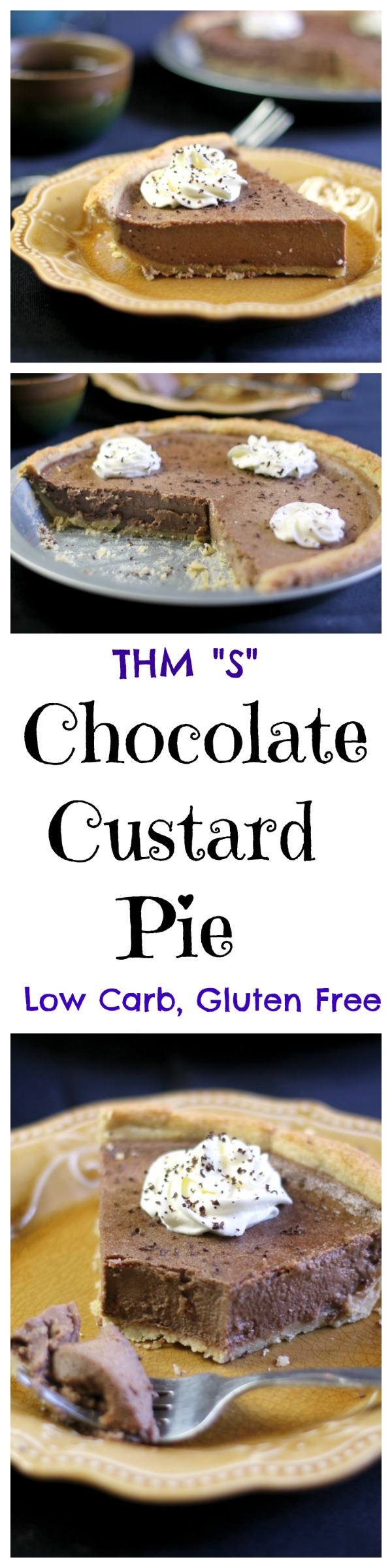 "Low Carb and Gluten free this Chocolate Custard pie is rich and creamy. The perfect dessert. THM ""S"""