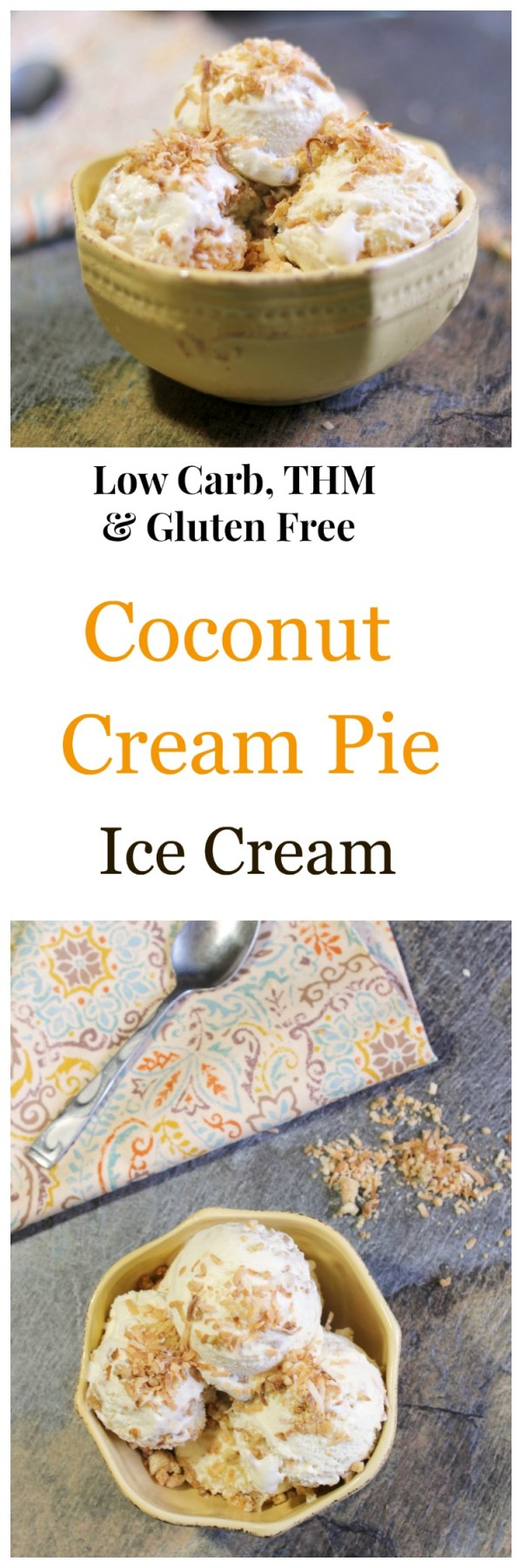 Coconut Cream Pie Ice Cream is low carb, will with toasted coconut and pieces pie crust. Gluten free and THM.