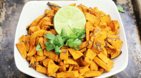 A savory and tangy twist on roasted sweet potatoes. Low Fat and THM E.