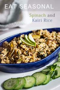 Kachhi Kairi and Palak Fried Rice – Raw Mango and Spinach Fried RIce