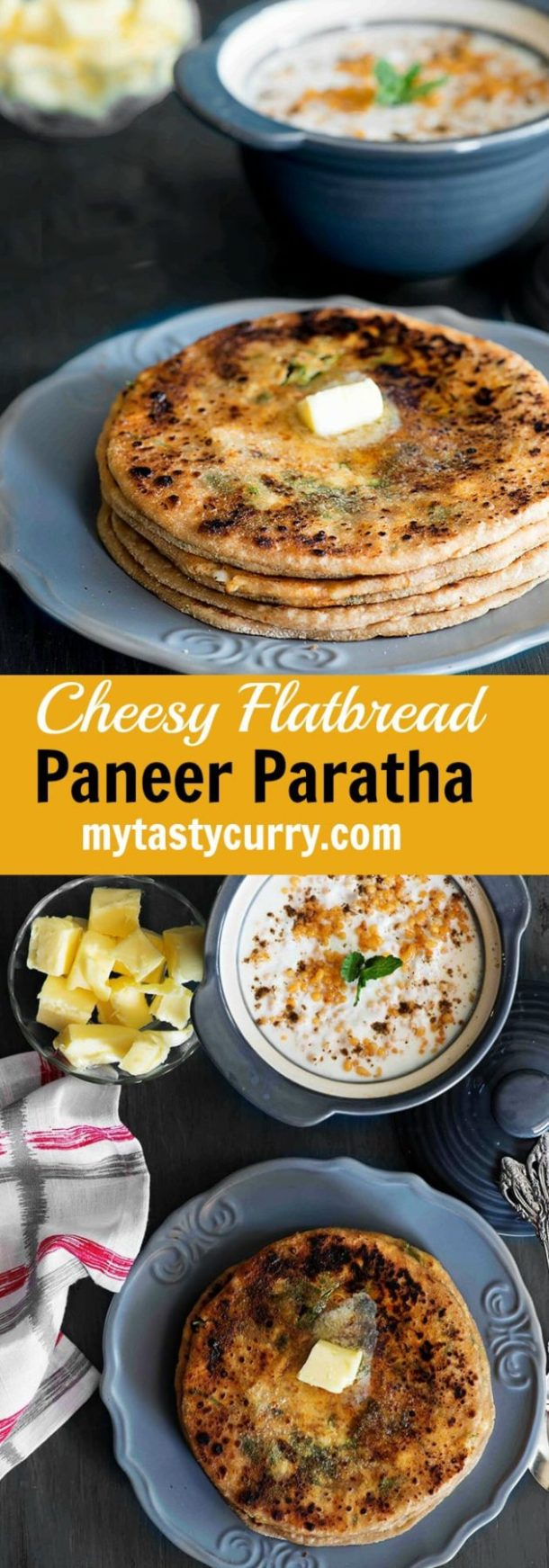 Paneer Paratha or Cottage Cheese stuffed wholewheat Indian flat breads for breakfast, lunch or dinner. #paneer #paratha #cottagecheese #flatbread