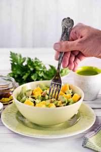 Lettuce Mango Avocado Salad in Hot  chilli Dressing