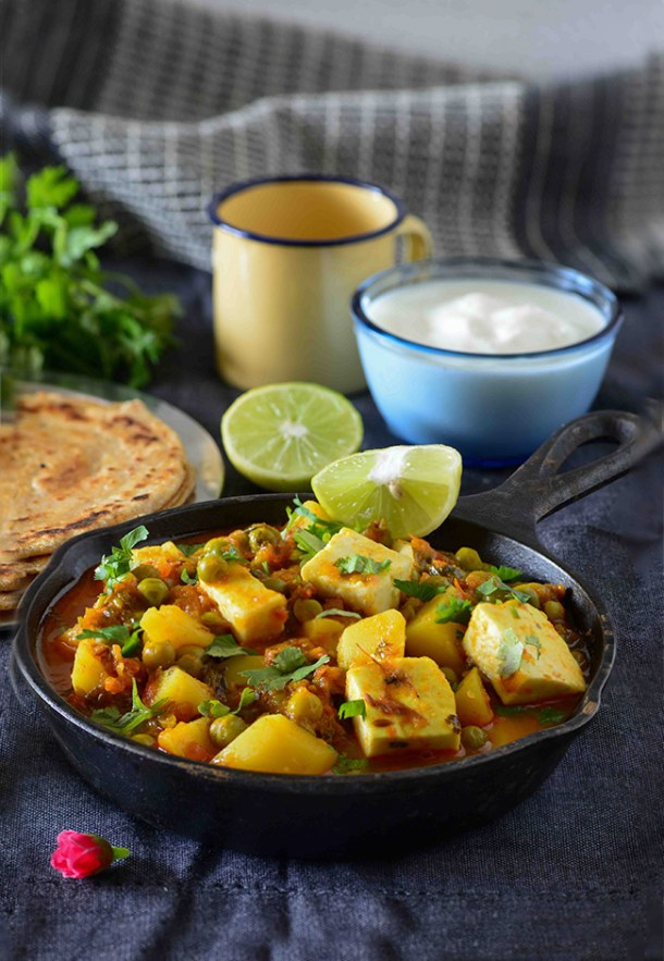 recipe: aloo matar paneer (simmered potatoes with peas and paneer) [33]