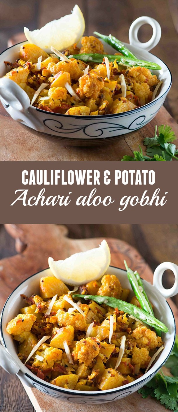 Aloo Gobhisabzi, is simple sabzi in which cauliflower and potatoes are cooked with pickling spices in mustard oil.It tastes different from regular aloo gobhi or Potato and cauliflower dry curry and is great sabzi to go with Paratha or chapati