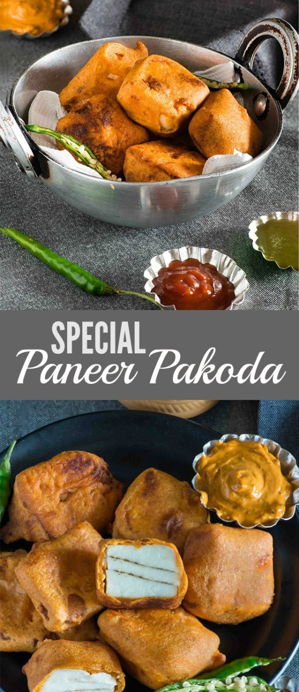 Paneer pakodas are a favorite way to enjoy as tea time snack in India, these paneer pakoda are made with special pakoda masala sandwiched between two slices of paneer. The batter in the recipe uses chickpea flour which is gluten free and Low GI so that makes it suitable for diabetic diet too