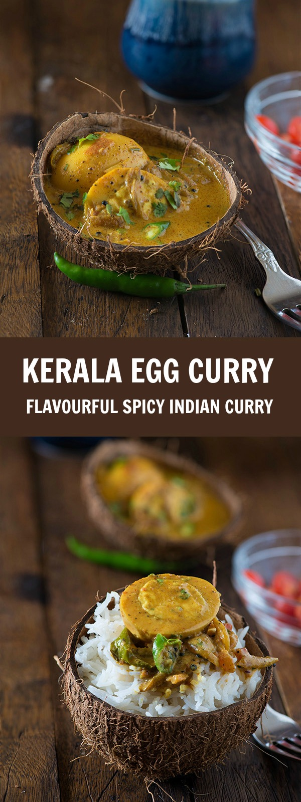 Kerala egg curry recipe is quick, easy and spicy Kerala style egg curry cooked in coconut milk. This is also known as Nadan Mutta curry. This recipe is an authentic hotel style Kerala egg curry which is served with Chapati, rice, Malabar parotta, Idiyappam, and appam. It is a low carb glutenfree egg curry. In Kerala egg curry boiled eggs are cooked in a typical Kerala style coconut milk gravy which is very spicy. The flavors of spices in the gravy are beautifully balanced with the sweetness of coconut milk. It's easy and simple curry that can be served as delicious side dish.