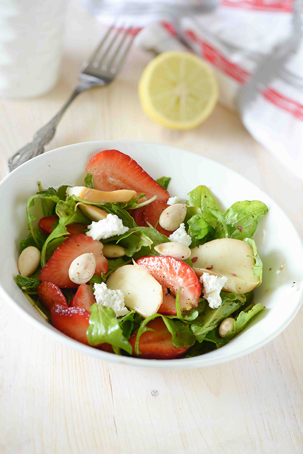 Strawberry rocket salad is sweet spicy tangy flavorful and healthy salad. What I love most about this salad is a combination of all these delicious flavors in just one salad.