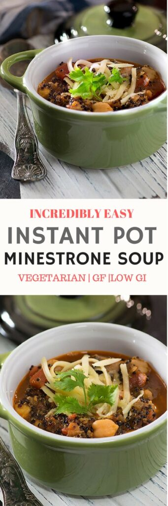 INSTANT POT QUINOA AND CHICKPEAS MINESTRONE SOUP-incredibly easy quinoa soup in electric pressure cooker. It is a gluten-free, low GI, Made from scratch homemade quinoa soup hearty, flavourful Soup & tastes almost like a luscious minestrone soup Its healthy, gluten free, can be made vegan and simple! Easy, fast dinner. via @mytastycurry
