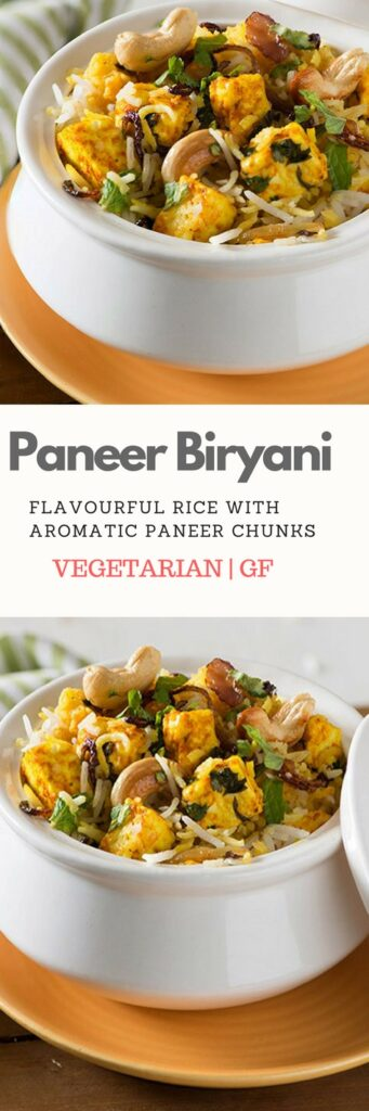 Paneer Biryani is the perfect healthy, vegetarian one pot meal recipe that is gluten free too. This delicious dish made with flavourful paneer or Indian cottage cheese in aromatic rice served with plain yogurt is delicious and easy Indian lunch recipe. #IndianFood