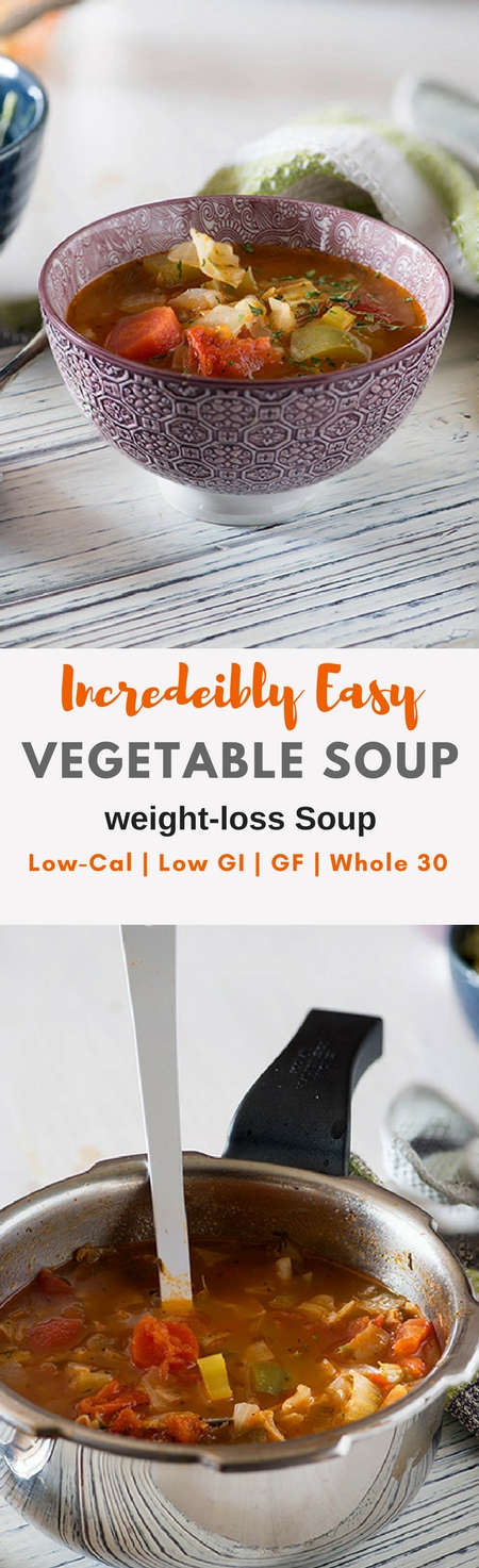 This Vegetable weight loss soup recipe is delicious, healthy, filling and flavourful. Make this healthy soup in 20Minutes with the help of your pressure cooker or Instant Pot. Gluten-free, Low GI, whole 30 Soup recipe. New recipes in my 20 Minute Meals Recipes.  #weightloss #whole30 #glutenfree #lowcalorie #healthy Via @rekhaKakkar
