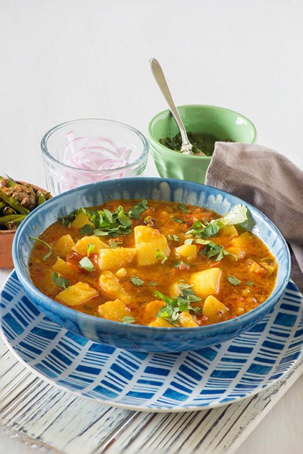Aloo ki Sabji or Potato curry. Also known as Aloo tamatar sabji, this is basically most delicious tasting aloo recipes