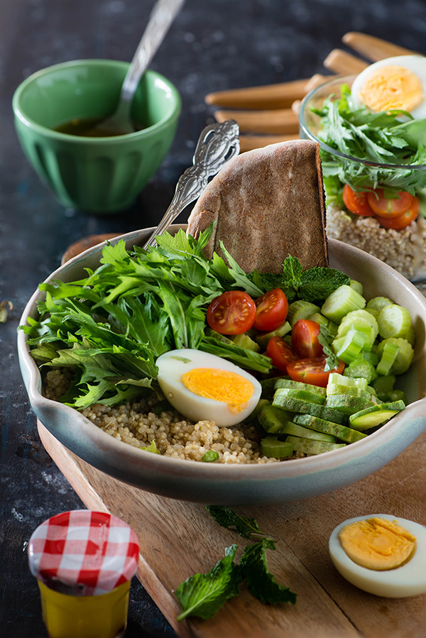 Mizuna quinoa salad recipe