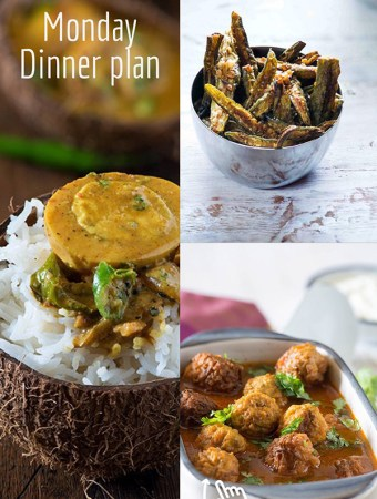 Everyday Indian dinner plan for each day of week