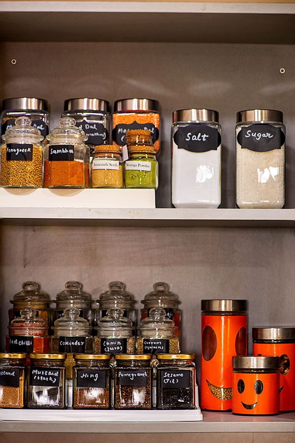 organized Indian spice cabinet