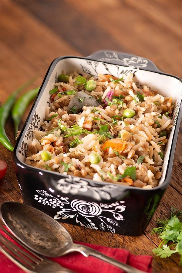 Brown rice masoor dal pulao