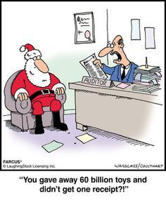 Image of a tax auditor with Santa Claus asking about receipts for charitable donations, which can be used as tax credits towards reducing your income tax that is payable to the CRA.