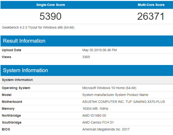 geekbench score of ryzen 5 3600