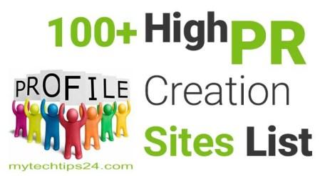 100+ Best High PR Profile Creation Sites List 2020