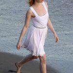 Emma Stone in White Dress – Photoshoot on the beach in Malibu
