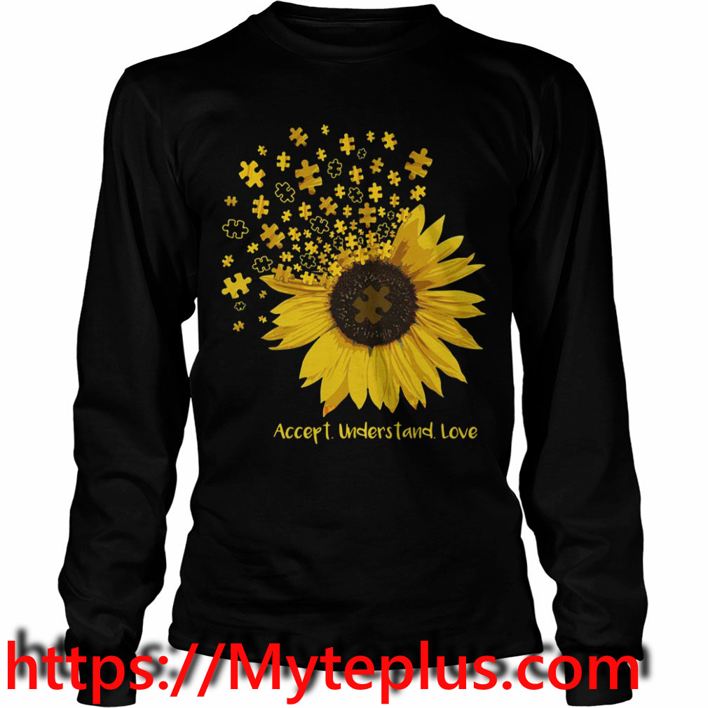 Autism sunflower accept understand love Long sleeve