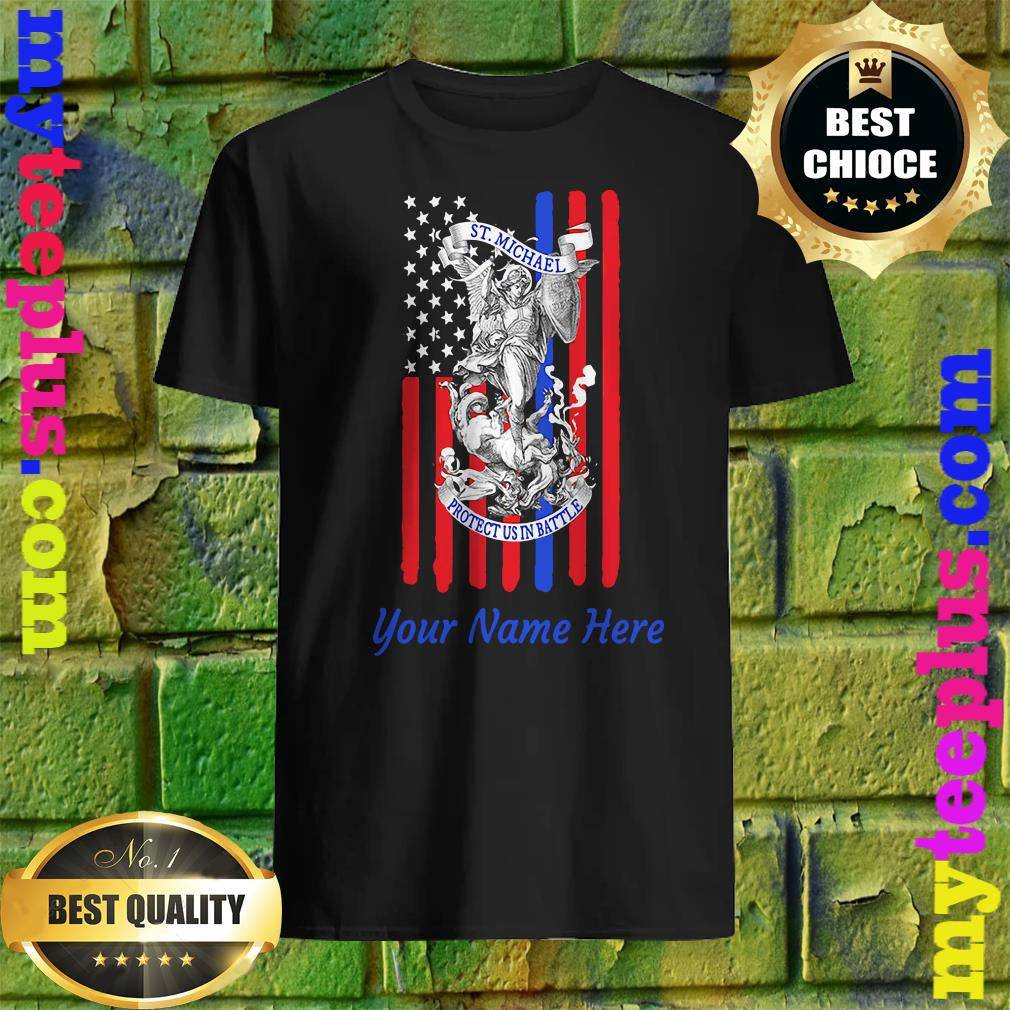 Personalized Patriotic St Michael The Archangel Prayer Flag Adult shirt
