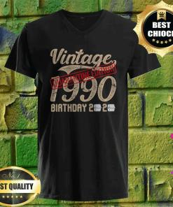 30th Quarantine Edition Birthday Vintage Theme 1990 v neck