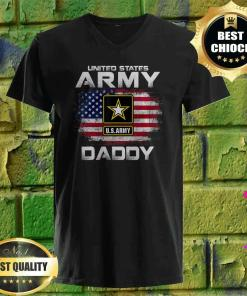 United States Army Daddy With American Flag v neck