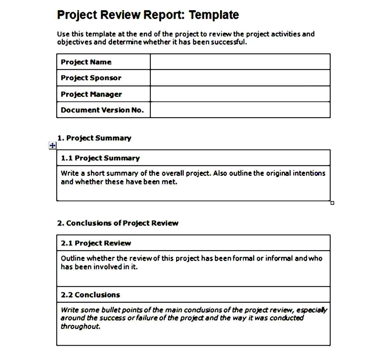 Project Scope Template Printable