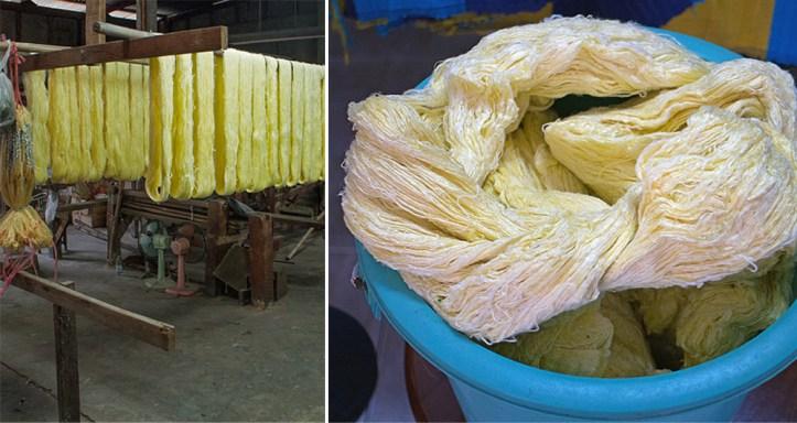 Raw Thai silk threads.