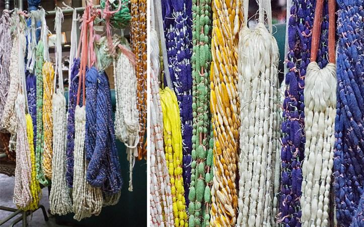 Thai mudmee silk yarns
