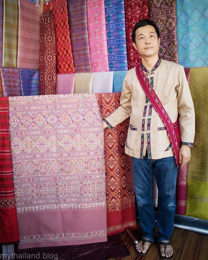 A Praewa Thai silk vendor