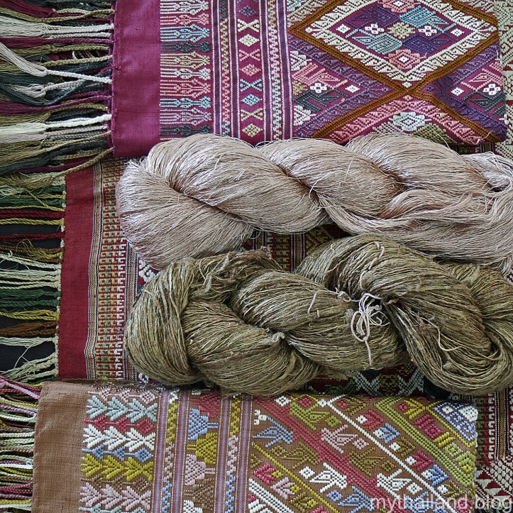 Thai silk and silk yarns.