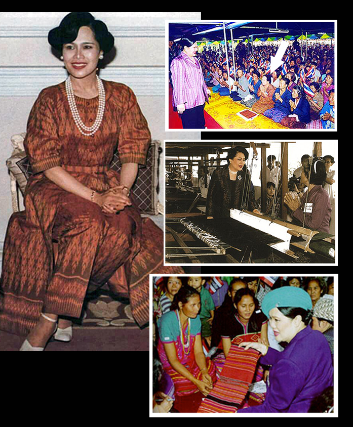 Queen Sirikit wears mudmee silk