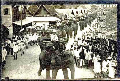 Vintage photo of an elephant procession in Chiang Mai, Thailand